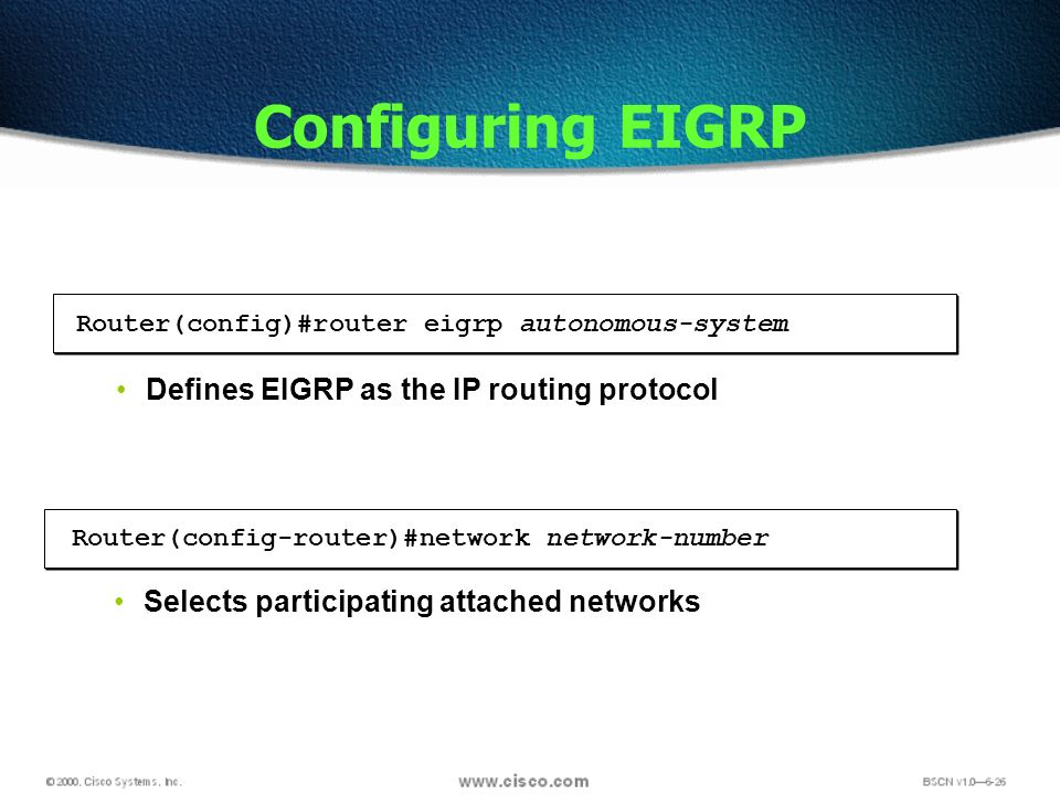 Configuring EIGRP Router(config-router)#network network-number Selects participating attached networks Router(config)#router eigrp autonomous-system Defines EIGRP as the IP routing protocol