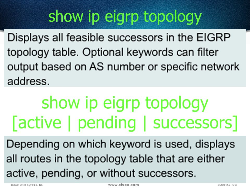 82 show ip eigrp topology show ip eigrp topology [active | pending | successors]