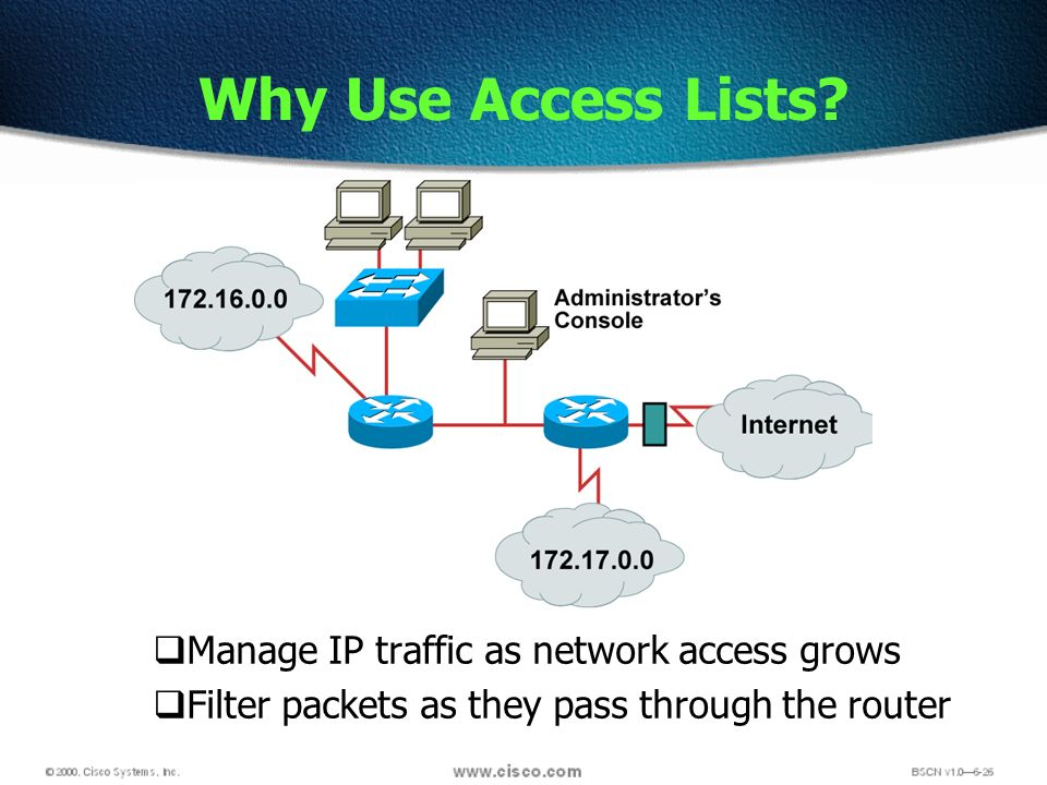 Manage IP traffic as network access grows Filter packets as they pass through the router Why Use Access Lists