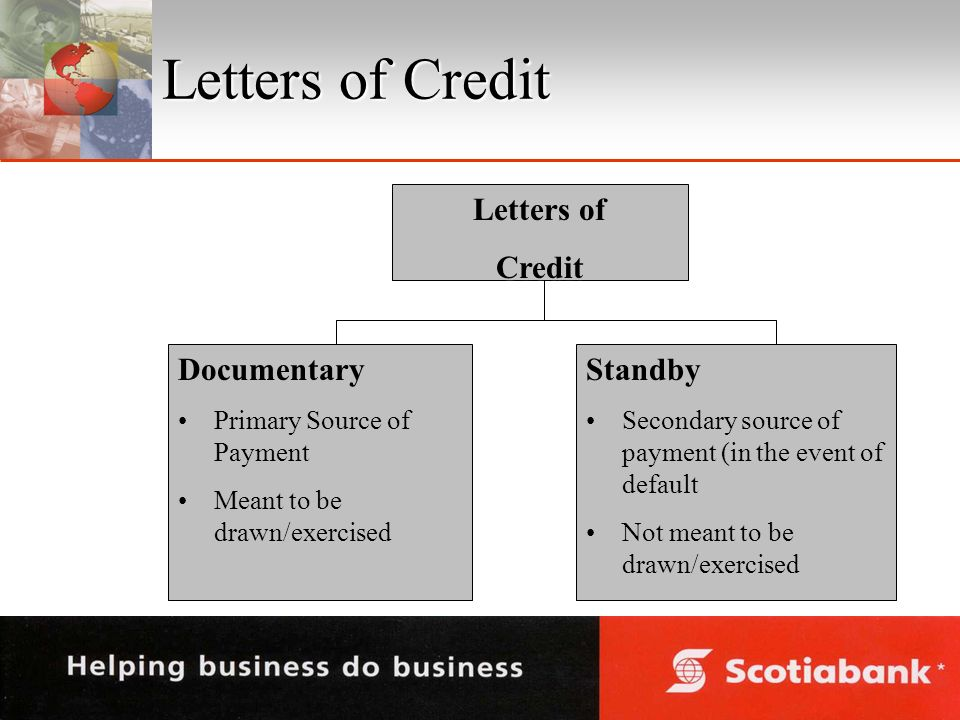 Letters of Credit Letters of Credit Documentary Primary Source of PaymentPrimary Source of Payment Meant to be drawn/exercisedMeant to be drawn/exercisedStandby Secondary source of payment (in the event of defaultSecondary source of payment (in the event of default Not meant to be drawn/exercisedNot meant to be drawn/exercised