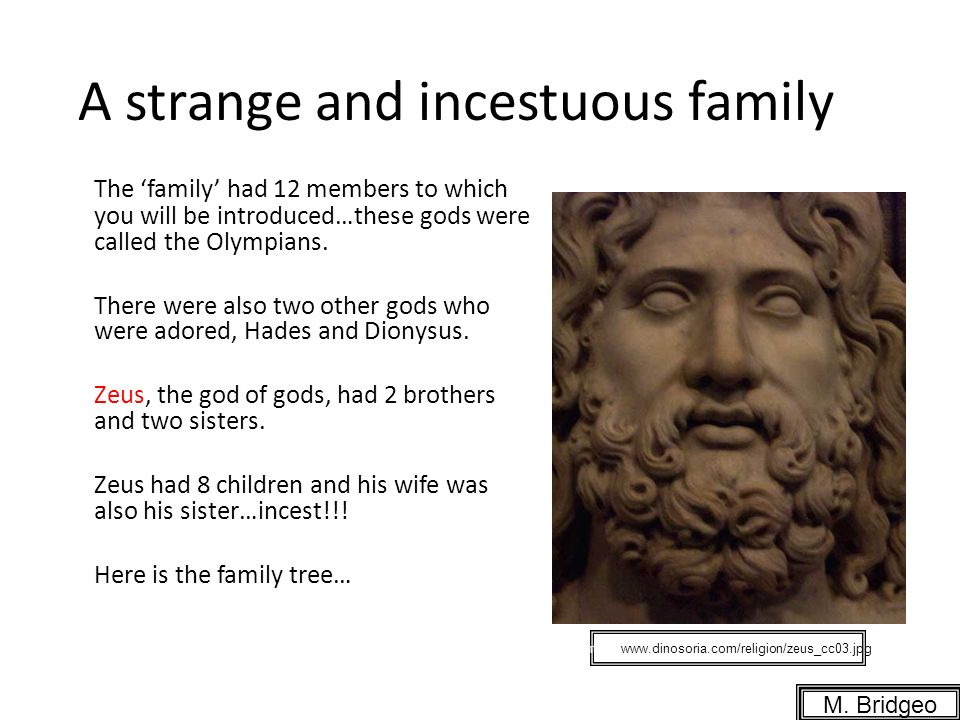 A strange and incestuous family The family had 12 members to which you will be introduced…these gods were called the Olympians.