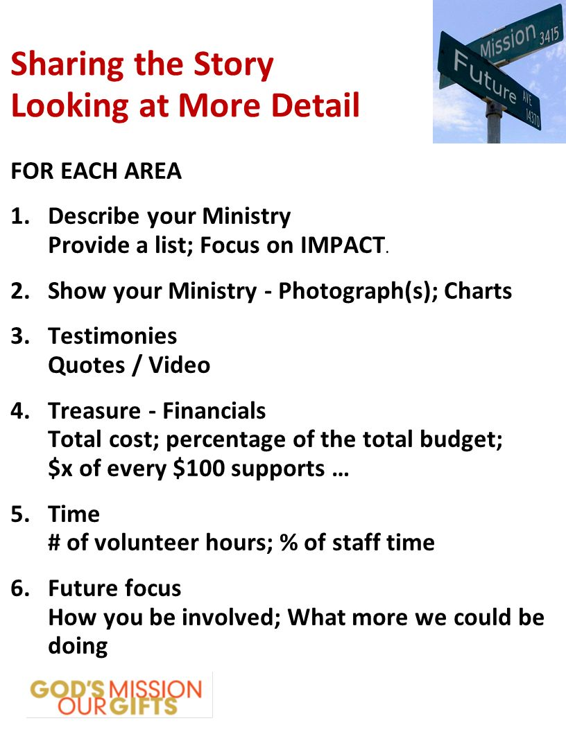Sharing the Story Looking at More Detail FOR EACH AREA 1.Describe your Ministry Provide a list; Focus on IMPACT.