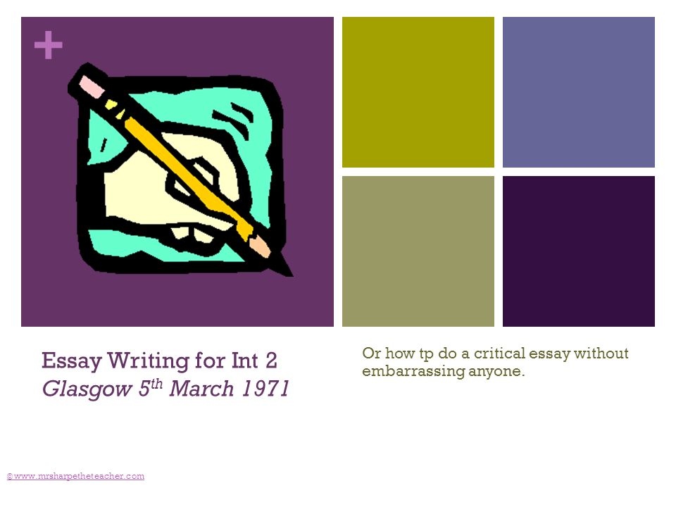 + © www.mrsharpetheteacher.com Essay Writing for Int 2 Glasgow 5 th March 1971 Or how tp do a critical essay without embarrassing anyone.