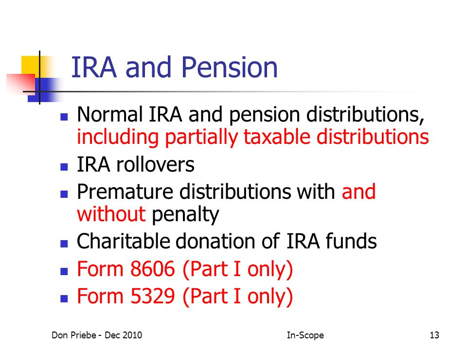 Don Priebe - Dec 2010In-Scope13 IRA and Pension Normal IRA and pension distributions, including partially taxable distributions IRA rollovers Premature distributions with and without penalty Charitable donation of IRA funds Form 8606 (Part I only) Form 5329 (Part I only)