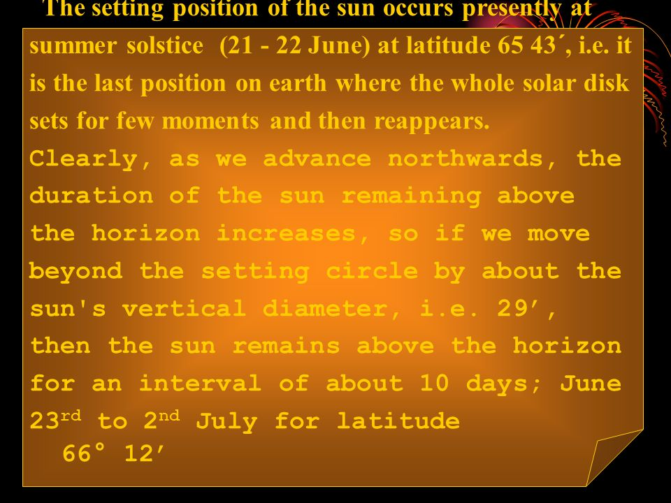 The setting position of the sun occurs presently at summer solstice ( June) at latitude 65 43´, i.e.