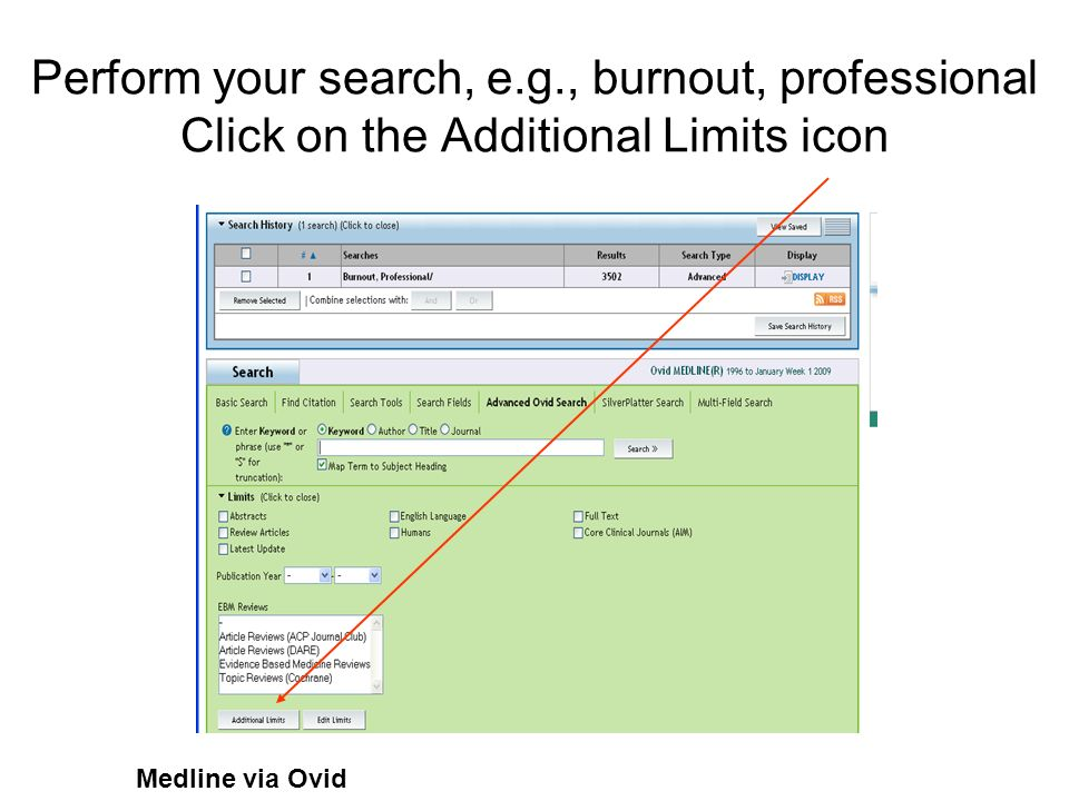 Perform your search, e.g., burnout, professional Click on the Additional Limits icon Medline via Ovid