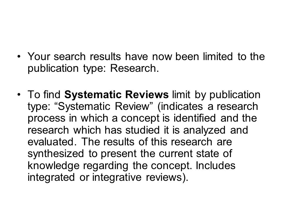 Your search results have now been limited to the publication type: Research.