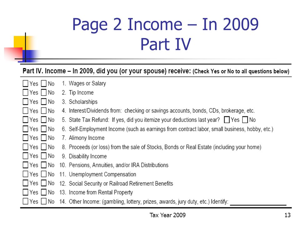 Tax Year 200913 Page 2 Income – In 2009 Part IV