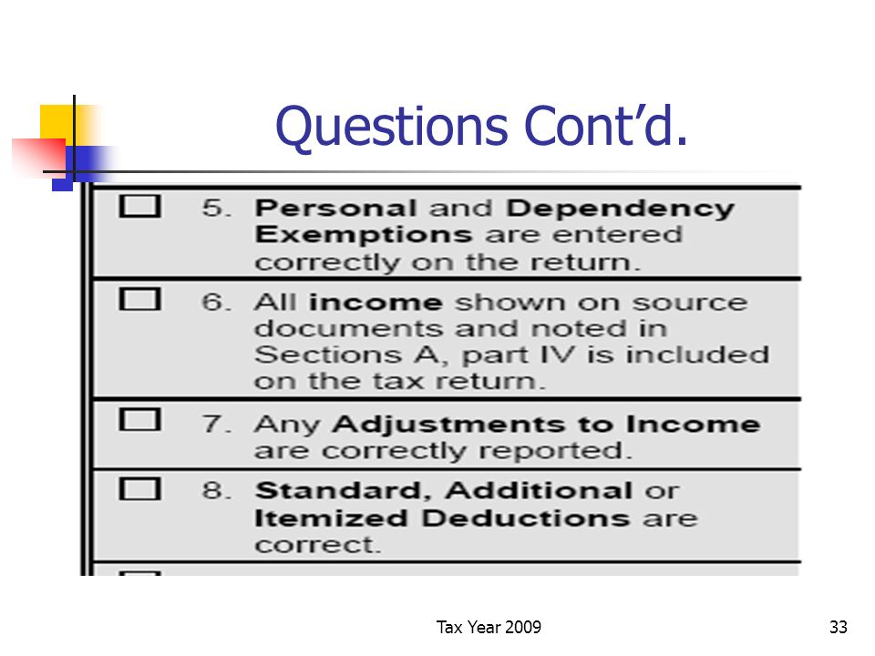 Tax Year 200933 Questions Contd.