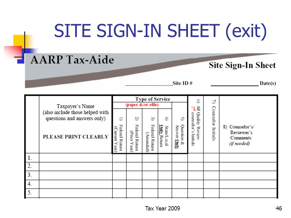 Tax Year 200946 SITE SIGN-IN SHEET (exit)