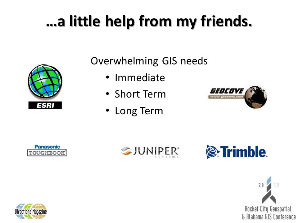 …a little help from my friends. Overwhelming GIS needs Immediate Short Term Long Term