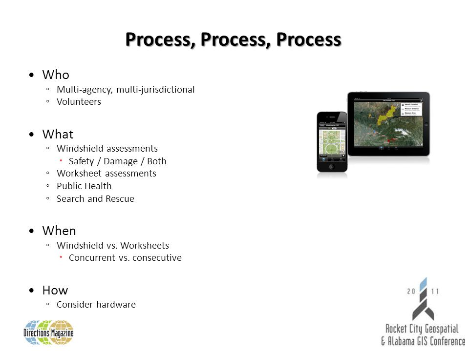 Process, Process, Process Who Multi-agency, multi-jurisdictional Volunteers What Windshield assessments Safety / Damage / Both Worksheet assessments Public Health Search and Rescue When Windshield vs.