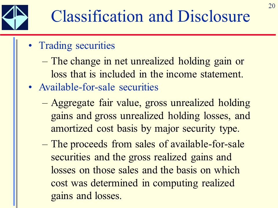 20 Classification and Disclosure Trading securities –The change in net unrealized holding gain or loss that is included in the income statement.