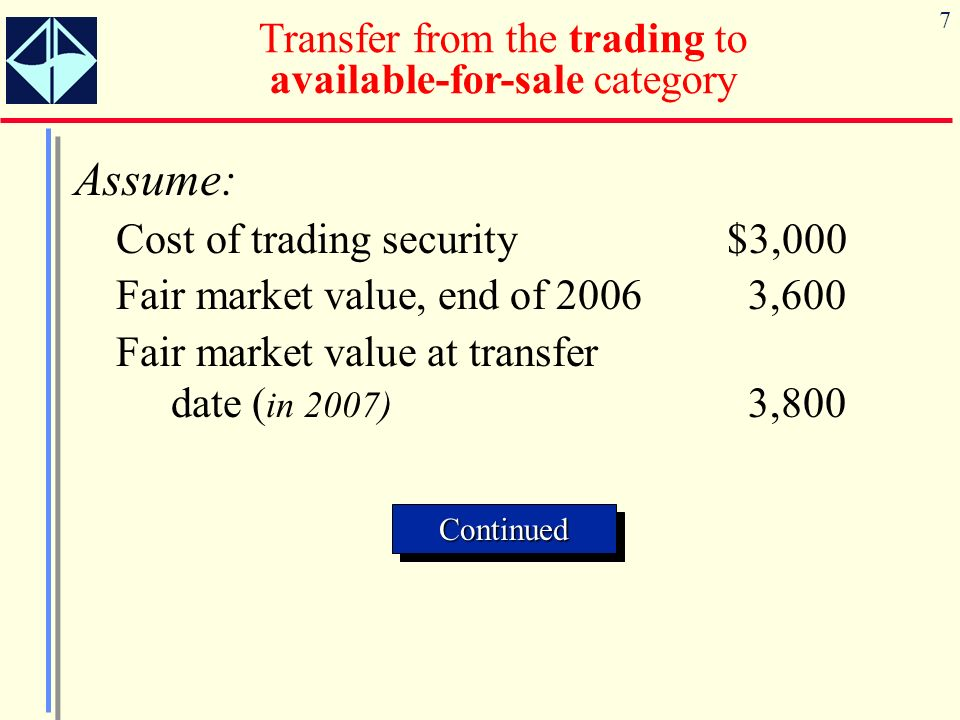 7 Assume: Cost of trading security$3,000 Fair market value, end of 20063,600 Fair market value at transfer date ( in 2007) 3,800 Transfer from the trading to available-for-sale category ContinuedContinued