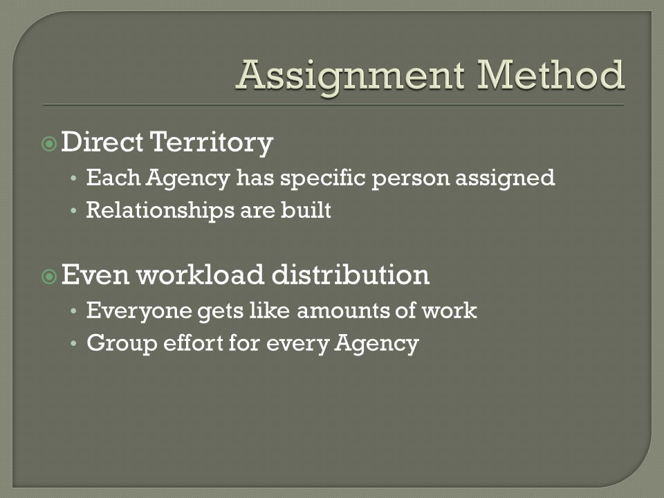 Direct Territory Each Agency has specific person assigned Relationships are built Even workload distribution Everyone gets like amounts of work Group effort for every Agency