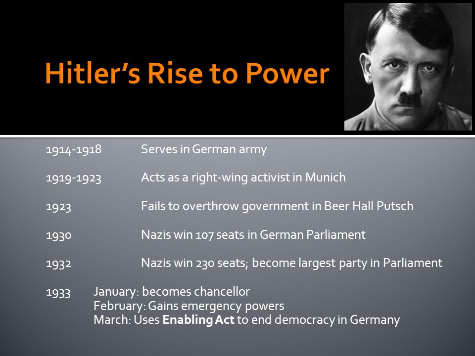 Serves in German army Acts as a right-wing activist in Munich 1923Fails to overthrow government in Beer Hall Putsch 1930Nazis win 107 seats in German Parliament 1932Nazis win 230 seats; become largest party in Parliament 1933January: becomes chancellor February: Gains emergency powers March: Uses Enabling Act to end democracy in Germany