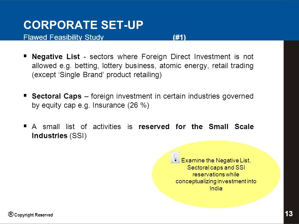 CORPORATE SET-UP Flawed Feasibility Study (#1) Negative List - sectors where Foreign Direct Investment is not allowed e.g.