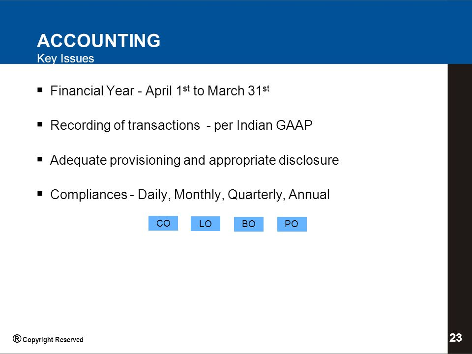 ACCOUNTING Key Issues Financial Year - April 1 st to March 31 st Recording of transactions - per Indian GAAP Adequate provisioning and appropriate disclosure Compliances - Daily, Monthly, Quarterly, Annual CO LO BOPO 23 ® Copyright Reserved