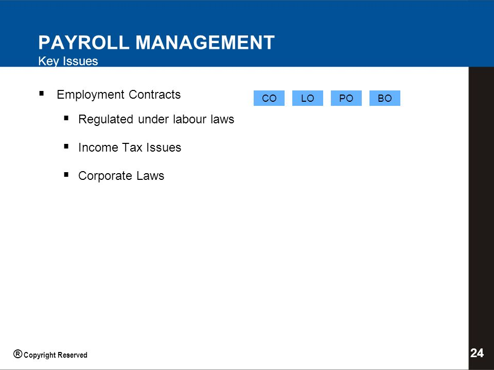 PAYROLL MANAGEMENT Key Issues Employment Contracts Regulated under labour laws Income Tax Issues Corporate Laws COBOPOLO 24 ® Copyright Reserved