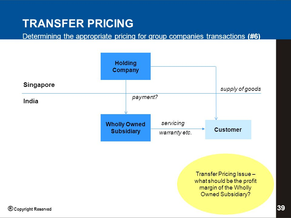 Holding Company Wholly Owned Subsidiary Singapore India Transfer Pricing Issue – what should be the profit margin of the Wholly Owned Subsidiary.