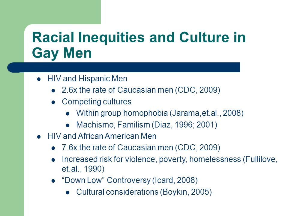 Racial Inequities and Culture in Gay Men HIV and Hispanic Men 2.6x the rate of Caucasian men (CDC, 2009) Competing cultures Within group homophobia (Jarama,et.al., 2008) Machismo, Familism (Diaz, 1996; 2001) HIV and African American Men 7.6x the rate of Caucasian men (CDC, 2009) Increased risk for violence, poverty, homelessness (Fullilove, et.al., 1990) Down Low Controversy (Icard, 2008) Cultural considerations (Boykin, 2005)
