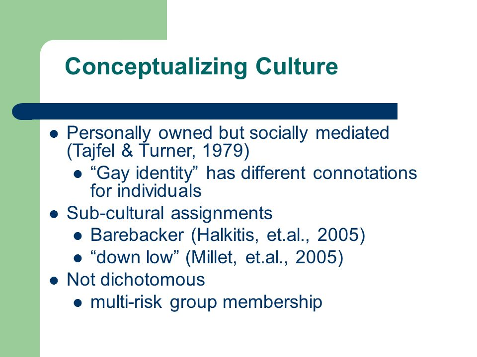 Conceptualizing Culture Personally owned but socially mediated (Tajfel & Turner, 1979) Gay identity has different connotations for individuals Sub-cultural assignments Barebacker (Halkitis, et.al., 2005) down low (Millet, et.al., 2005) Not dichotomous multi-risk group membership