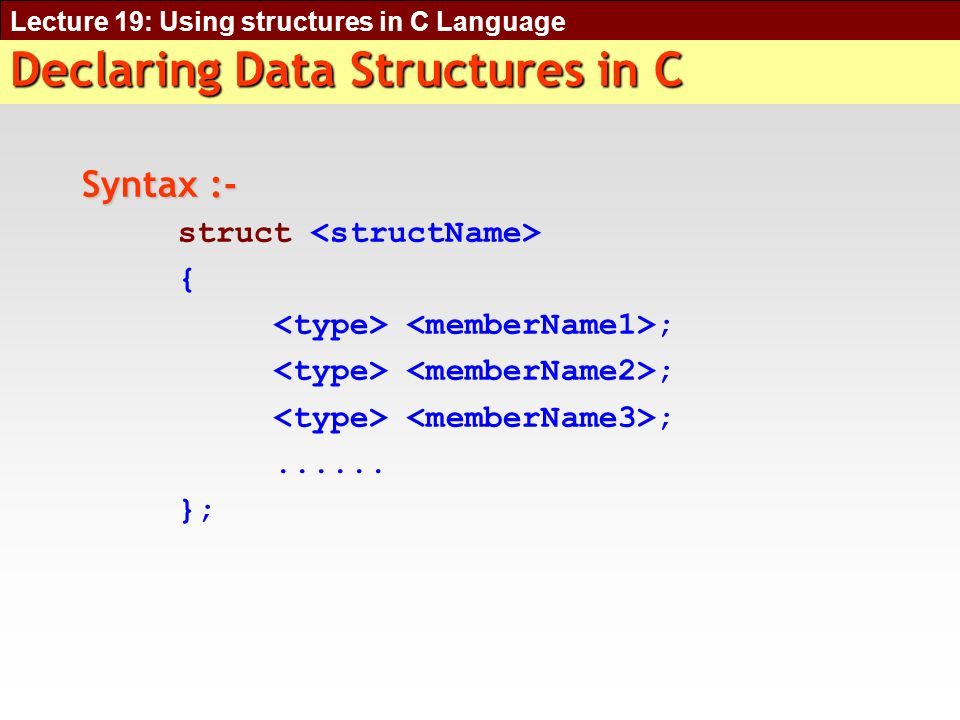 Lecture 19: Using structures in C Language Declaring Data Structures in C Syntax :- struct { ;......