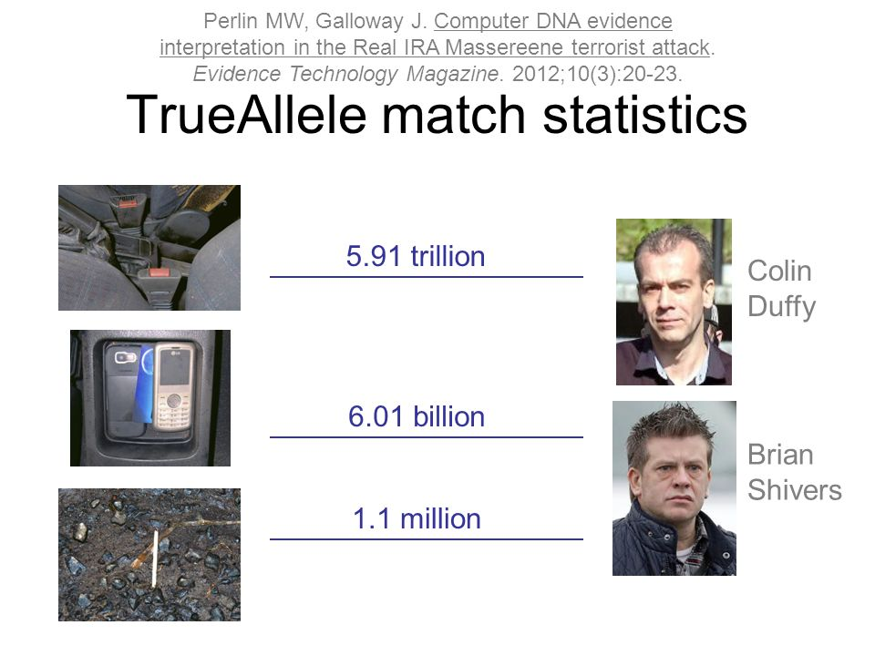 TrueAllele match statistics 5.91 trillion 6.01 billion 1.1 million Colin Duffy Brian Shivers Perlin MW, Galloway J.
