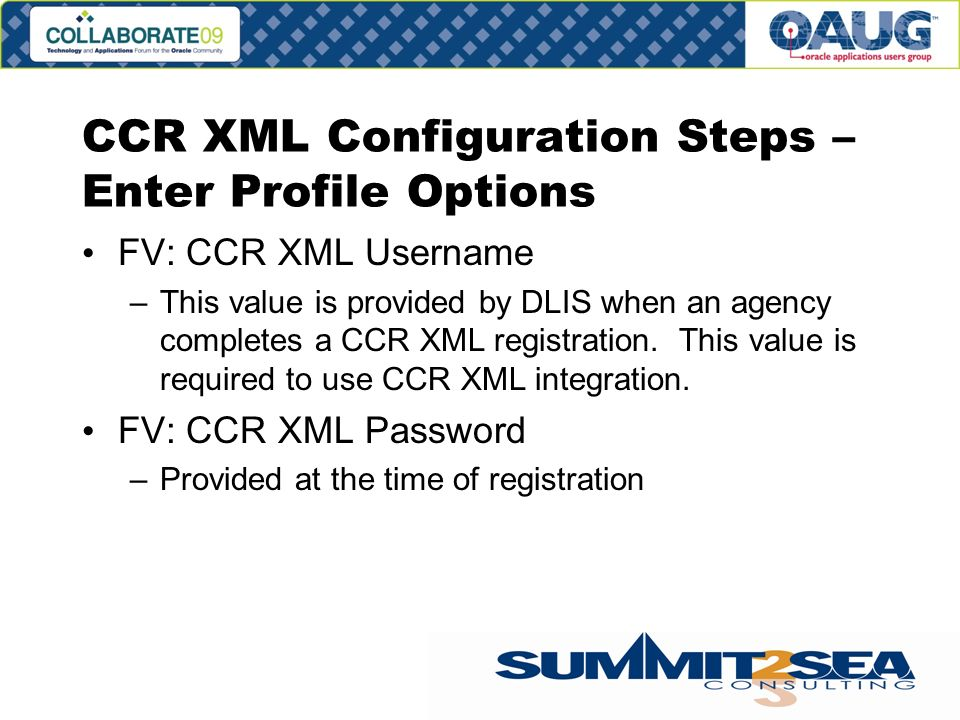 CCR XML Configuration Steps – Enter Profile Options FV: CCR XML Username –This value is provided by DLIS when an agency completes a CCR XML registration.