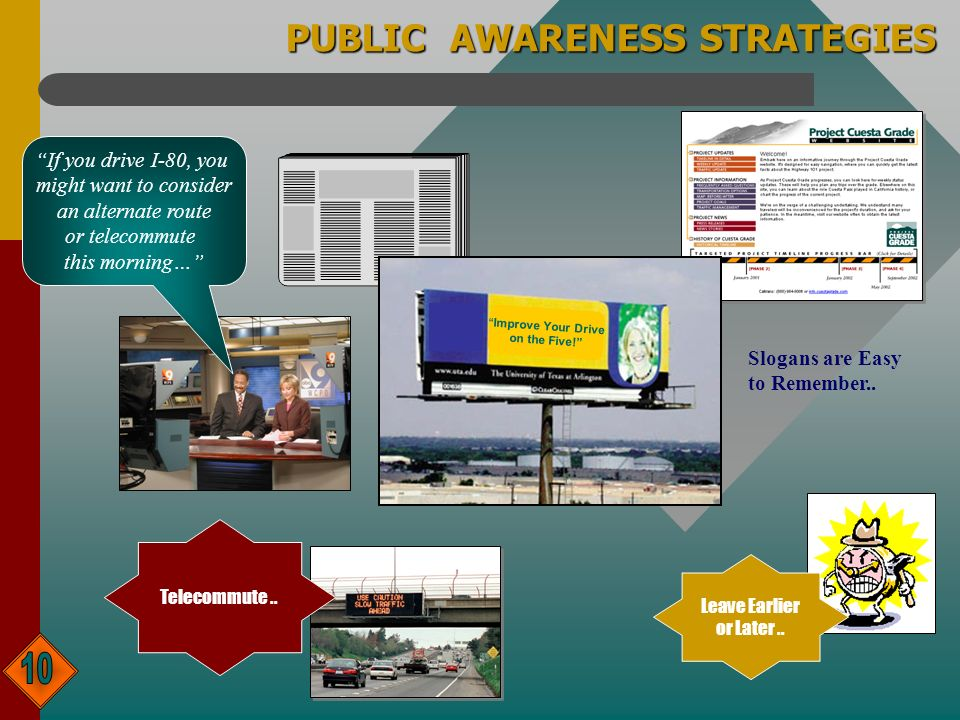 PUBLIC AWARENESS STRATEGIES Leave Earlier or Later..