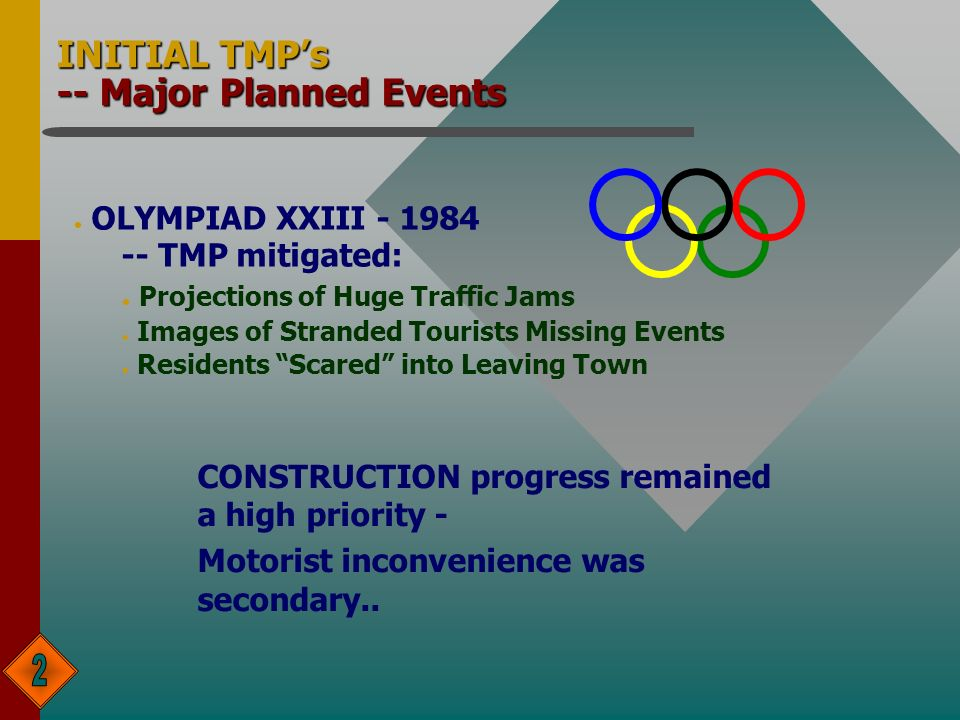 INITIAL TMPs -- Major Planned Events l OLYMPIAD XXIII TMP mitigated: l Projections of Huge Traffic Jams l Images of Stranded Tourists Missing Events l Residents Scared into Leaving Town CONSTRUCTION progress remained a high priority - Motorist inconvenience was secondary..