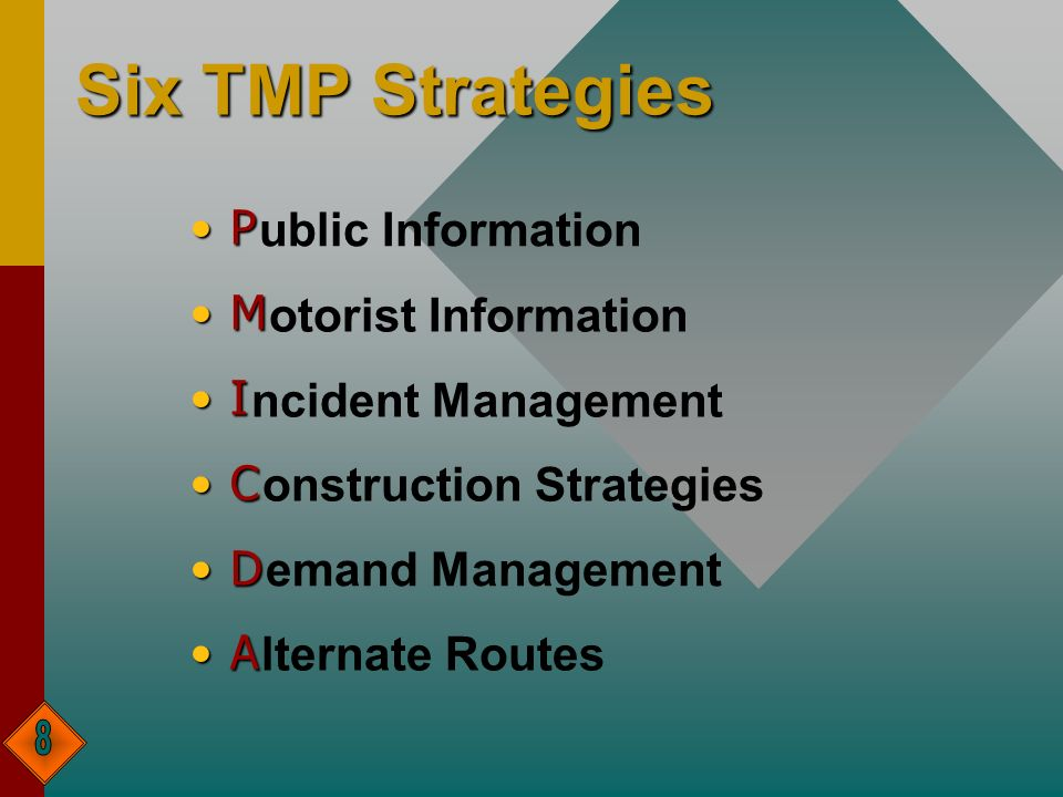 Six TMP Strategies P M I C D A ublic Information otorist Information ncident Management onstruction Strategies emand Management lternate Routes