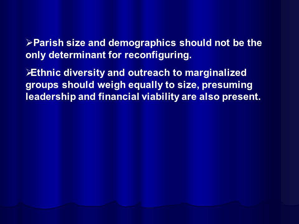 Parish size and demographics should not be the only determinant for reconfiguring.