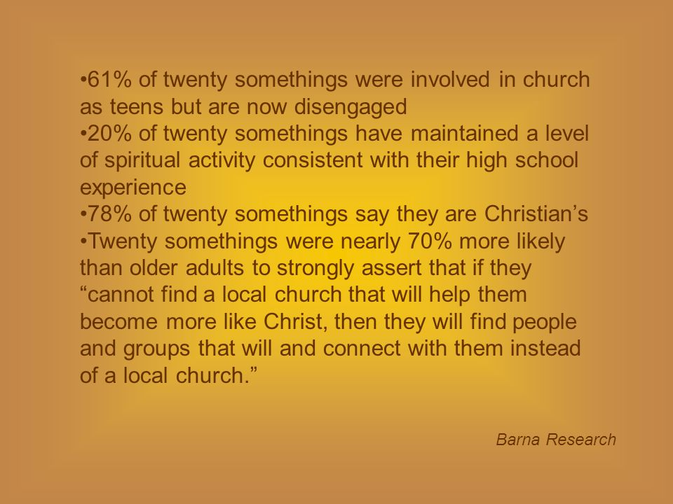 61% of twenty somethings were involved in church as teens but are now disengaged 20% of twenty somethings have maintained a level of spiritual activity consistent with their high school experience 78% of twenty somethings say they are Christians Twenty somethings were nearly 70% more likely than older adults to strongly assert that if theycannot find a local church that will help them become more like Christ, then they will find people and groups that will and connect with them instead of a local church.