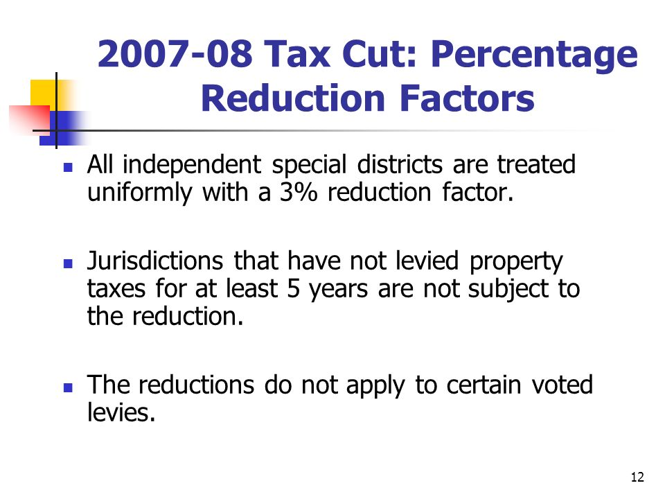12 2007-08 Tax Cut: Percentage Reduction Factors All independent special districts are treated uniformly with a 3% reduction factor.