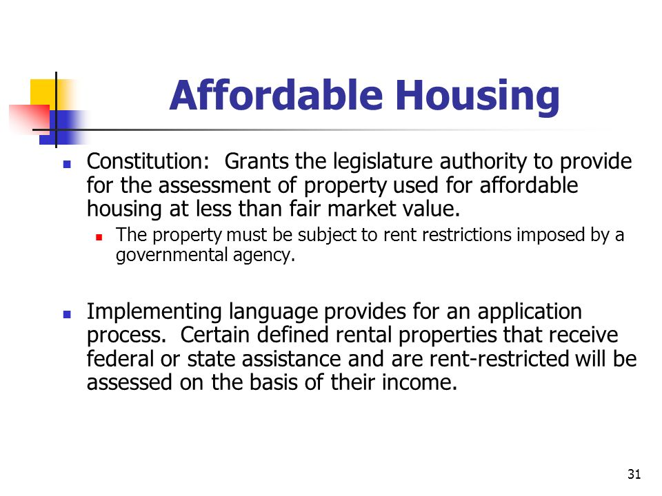31 Affordable Housing Constitution: Grants the legislature authority to provide for the assessment of property used for affordable housing at less than fair market value.
