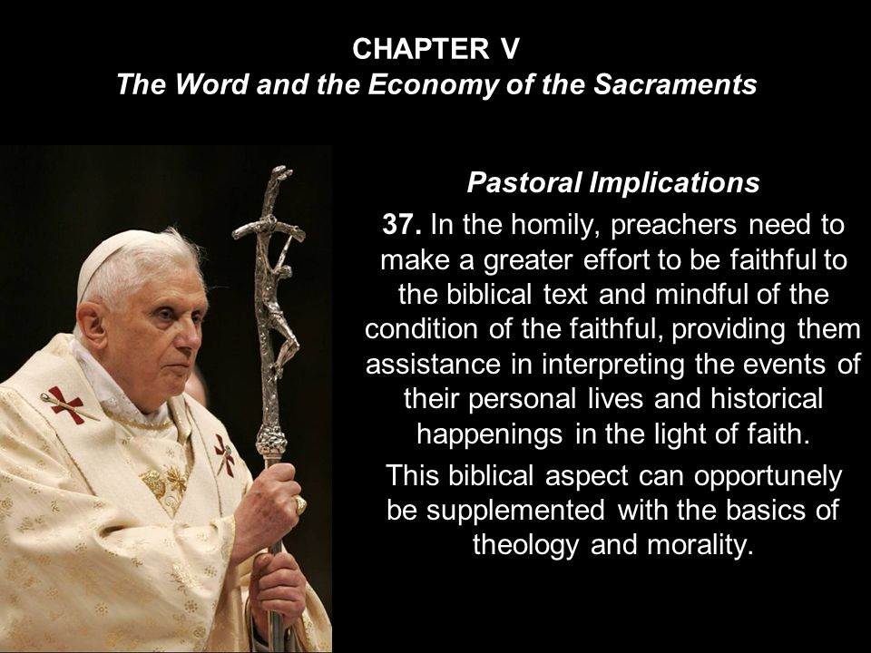 CHAPTER V The Word and the Economy of the Sacraments Pastoral Implications 37.
