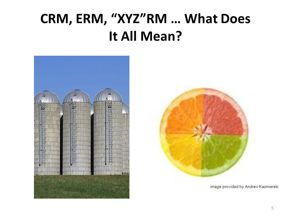 5 CRM, ERM, XYZRM … What Does It All Mean image provided by Andrew Kazmierski