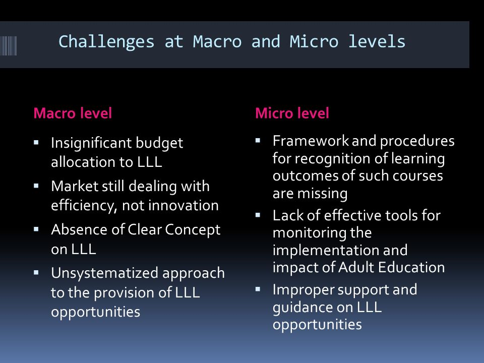 Challenges at Macro and Micro levels Macro levelMicro level Insignificant budget allocation to LLL Market still dealing with efficiency, not innovation Absence of Clear Concept on LLL Unsystematized approach to the provision of LLL opportunities Framework and procedures for recognition of learning outcomes of such courses are missing Lack of effective tools for monitoring the implementation and impact of Adult Education Improper support and guidance on LLL opportunities