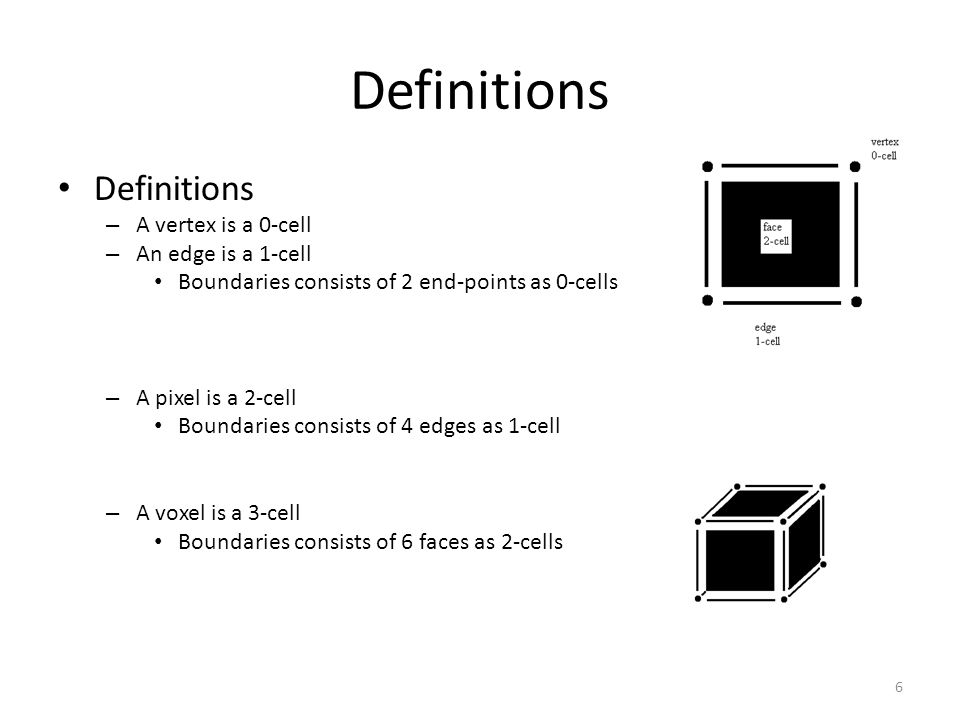 Definitions – A vertex is a 0-cell – An edge is a 1-cell Boundaries consists of 2 end-points as 0-cells – A pixel is a 2-cell Boundaries consists of 4 edges as 1-cell – A voxel is a 3-cell Boundaries consists of 6 faces as 2-cells 6