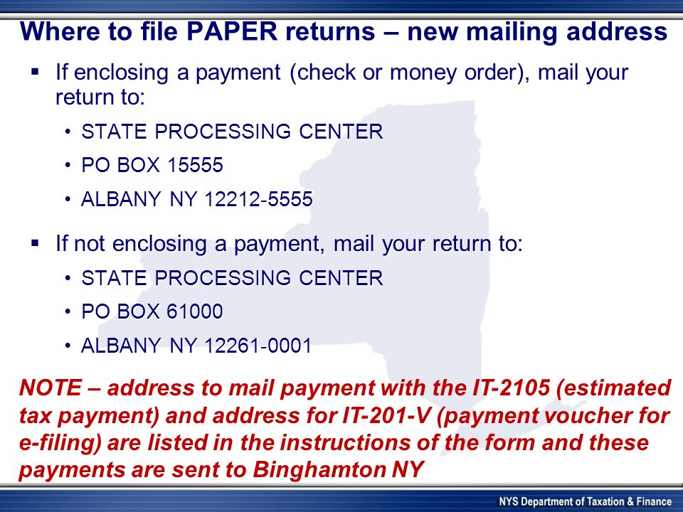 Where to file PAPER returns – new mailing address If enclosing a payment (check or money order), mail your return to: If enclosing a payment (check or money order), mail your return to: STATE PROCESSING CENTERSTATE PROCESSING CENTER PO BOX 15555PO BOX 15555 ALBANY NY 12212-5555ALBANY NY 12212-5555 If not enclosing a payment, mail your return to: If not enclosing a payment, mail your return to: STATE PROCESSING CENTERSTATE PROCESSING CENTER PO BOX 61000PO BOX 61000 ALBANY NY 12261-0001ALBANY NY 12261-0001 NOTE – address to mail payment with the IT-2105 (estimated tax payment) and address for IT-201-V (payment voucher for e-filing) are listed in the instructions of the form and these payments are sent to Binghamton NY