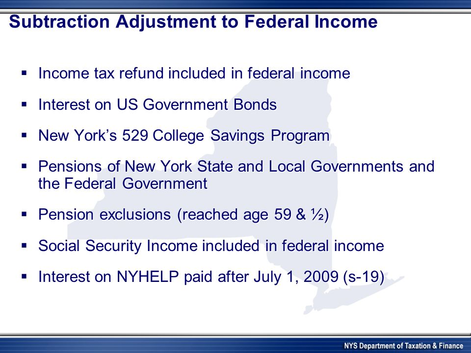 Subtraction Adjustment to Federal Income Income tax refund included in federal income Income tax refund included in federal income Interest on US Government Bonds Interest on US Government Bonds New Yorks 529 College Savings Program New Yorks 529 College Savings Program Pensions of New York State and Local Governments and the Federal Government Pensions of New York State and Local Governments and the Federal Government Pension exclusions (reached age 59 & ½) Pension exclusions (reached age 59 & ½) Social Security Income included in federal income Social Security Income included in federal income Interest on NYHELP paid after July 1, 2009 (s-19) Interest on NYHELP paid after July 1, 2009 (s-19)