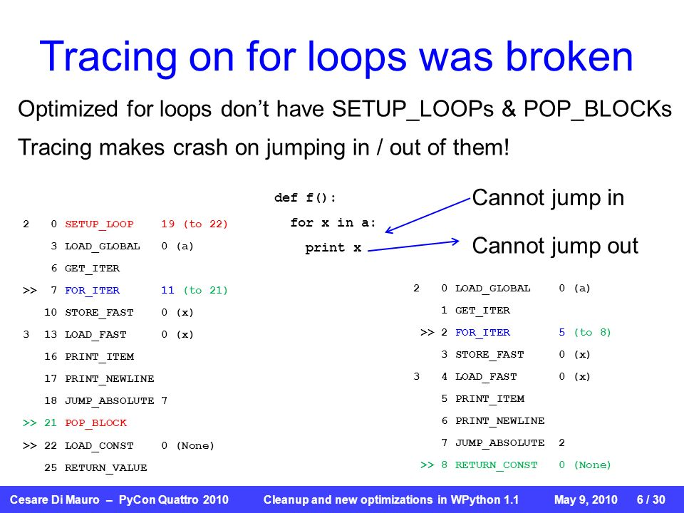 Cesare Di Mauro – PyCon Quattro 2010 Cleanup and new optimizations in WPython 1.1May 9, / 30 Tracing on for loops was broken def f(): for x in a: print x 2 0 SETUP_LOOP 19 (to 22) 3 LOAD_GLOBAL 0 (a) 6 GET_ITER >> 7 FOR_ITER 11 (to 21) 10 STORE_FAST 0 (x) 3 13 LOAD_FAST 0 (x) 16 PRINT_ITEM 17 PRINT_NEWLINE 18 JUMP_ABSOLUTE 7 >> 21 POP_BLOCK >> 22 LOAD_CONST 0 (None) 25 RETURN_VALUE 2 0 LOAD_GLOBAL 0 (a) 1 GET_ITER >> 2 FOR_ITER 5 (to 8) 3 STORE_FAST 0 (x) 3 4 LOAD_FAST 0 (x) 5 PRINT_ITEM 6 PRINT_NEWLINE 7 JUMP_ABSOLUTE 2 >> 8 RETURN_CONST 0 (None) Cannot jump out Cannot jump in Optimized for loops dont have SETUP_LOOPs & POP_BLOCKs Tracing makes crash on jumping in / out of them!