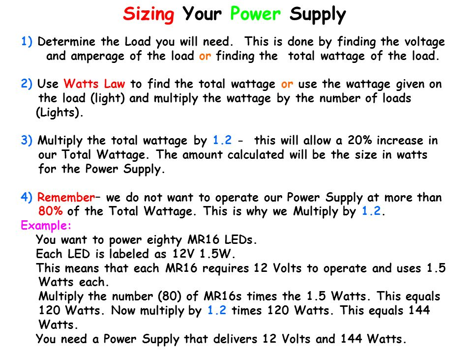 Sizing Your Power Supply 1) Determine the Load you will need.