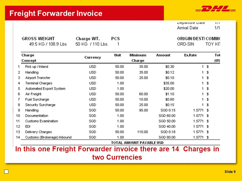 Slide 9 Freight Forwarder Invoice In this one Freight Forwarder invoice there are 14 Charges in two Currencies