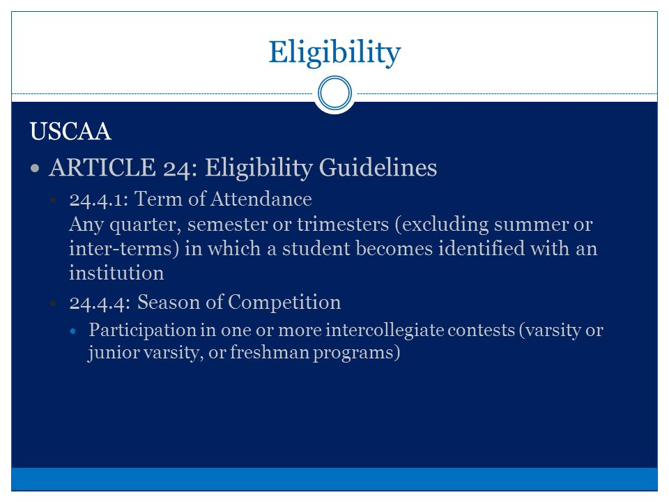 Compliance Amateurism Not receiving any benefits for athletic participation except those permitted under NCAA rules.