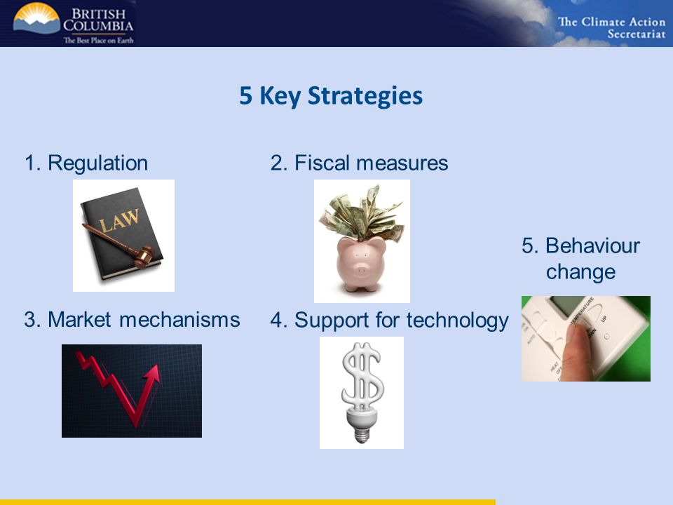 5 Key Strategies 1. Regulation2. Fiscal measures 3.
