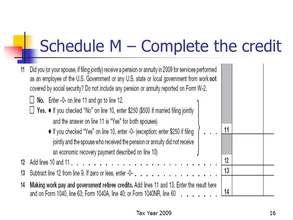 Tax Year 200916 Schedule M – Complete the credit
