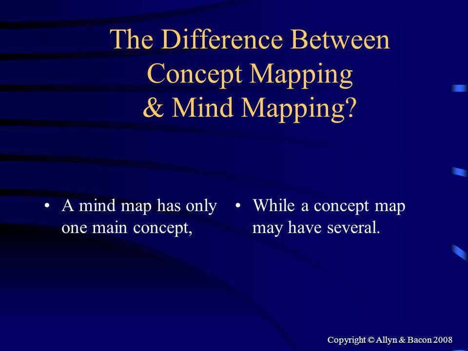Copyright © Allyn & Bacon 2008 The Difference Between Concept Mapping & Mind Mapping.