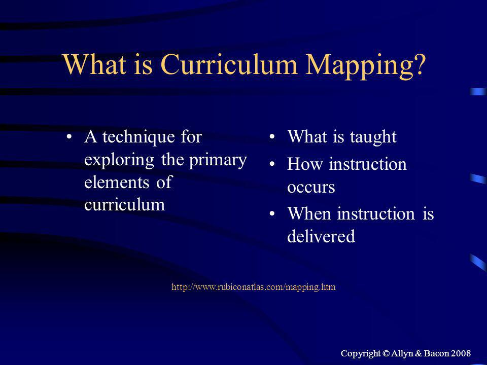 Copyright © Allyn & Bacon 2008 What is Curriculum Mapping.